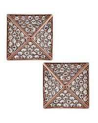 Vince Camuto | Pink Rose Gold Tone Crystal Pyramid Stud Earrings | Lyst