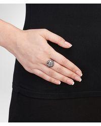 Bottega Veneta - Metallic Intrecciato Oxidised Antique Silver Ring - Lyst