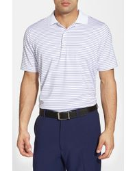 Fairway & Greene White 'campbell' Stripe Moisture Wicking Stretch Jersey Golf Polo for men