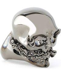 Alexander McQueen Metallic Chain Skull Ring for men