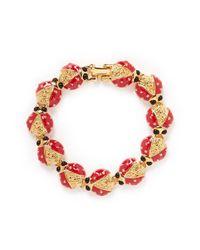 Kenneth Jay Lane - Red Enamel Ladybird Bracelet - Lyst