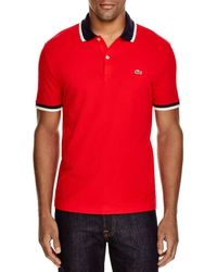 Lacoste   Red Stretch Cotton Slim Fit Polo for Men   Lyst