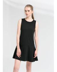 Mango - Black Flared Ponte Dress - Lyst