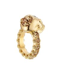 Alexander McQueen | Metallic Embellished Ring - Gold | Lyst