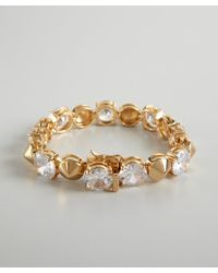 Noir Jewelry - Metallic Gold And Crystal Studded Bracelet - Lyst