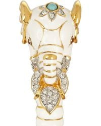 Kenneth Jay Lane - Metallic Enameled Gold-Plated, Crystal And Resin Elephant Bracelet - Lyst