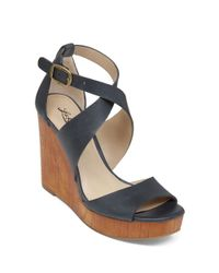Lucky Brand Blue Lyndell Leather Wedge Sandals