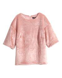 H&M | Pink Fake Fur Top | Lyst