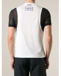 Moncler Gamme Bleu White Mesh Sleeve T-Shirt for men