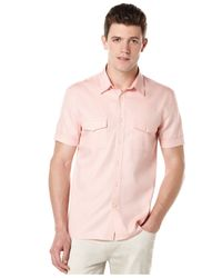 Perry Ellis | Pink Short-sleeve Oxford Shirt for Men | Lyst
