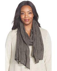 Eileen Fisher - Black Stripe Mix Merino Knit Scarf - Lyst