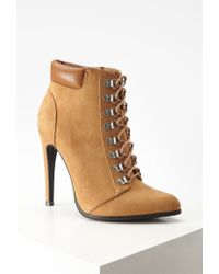 Forever 21 | Brown Faux Suede Lace-up Booties | Lyst