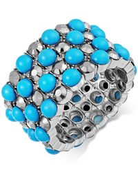 INC International Concepts | Blue Silver-tone Teal Bead And Crystal Stretch Bracelet | Lyst