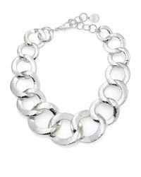 Nest | Metallic Hammered Link Statement Necklace | Lyst