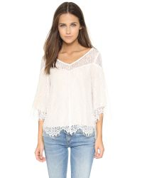 Ella Moss | Natural Amara Lace Blouse | Lyst