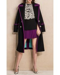 Fausto Puglisi - Black Contrast Double Breasted Coat - Lyst