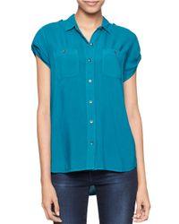 Calvin Klein Jeans | Blue Cap Sleeve Blouse | Lyst