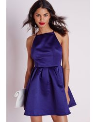 Missguided - Blue Satin High Neck Box Pleat Skater Dress Navy - Lyst