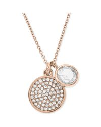 Michael Kors Metallic Rose Goldtone Round Crystal Charm Pendant Necklace