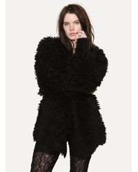 Lost & Found - Black Fur Coat - Lyst