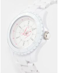 Lipsy - White Watch with Pink Heart - Lyst