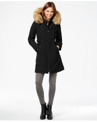 Vince Camuto | Black Faux-fur-trim Hooded Parka | Lyst