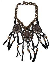Lanvin - Brown Wood Jewel Choker Necklace - Lyst