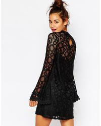 Missguided - Black Bell Sleeve Lace Dress - Lyst