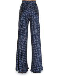 Etro Blue Paisley Flared Satin Trousers