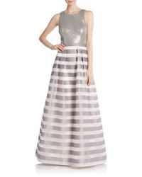 Kay Unger - Metallic Sequin & Stripe A-line Gown - Lyst