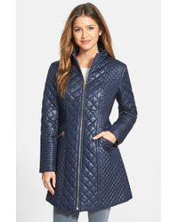 Via Spiga | Blue Stand Collar Quilted Coat | Lyst