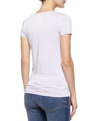 Neiman Marcus - Gray Short-sleeve V-neck Tee - Lyst