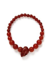 Alexander McQueen | Red Resin Bead Skull Bracelet for Men | Lyst