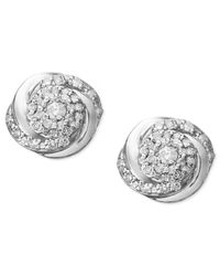 Wrapped in Love | Metallic ™ Pavé Diamond Stud Earrings In Sterling Silver (1/4 Ct. T.w.) | Lyst