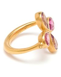 Marie-hélène De Taillac - Metallic 18Kt Gold, Spinel And Rubellite Clover Ring - Lyst