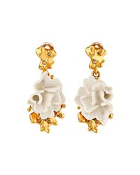 Oscar de la Renta | White Coral Earring | Lyst
