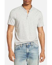 7 Diamonds Gray 'Carnegie' Jersey Henley T-Shirt for men