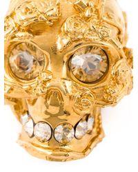 Alexander McQueen Metallic Floral Skull Necklace