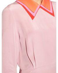 ROKSANDA Pink Esty Contrast-collared Crepe Dress