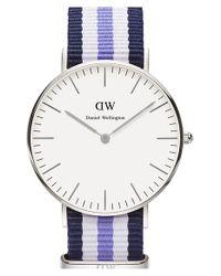 Daniel Wellington | Blue 'classic Trinity' Round Nato Strap Watch | Lyst
