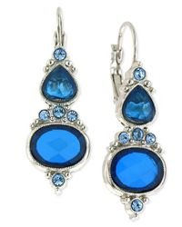 2028 | Metallic Silver-tone Sapphire-colored Glass Drop Earrings | Lyst