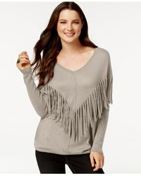 DKNY | Natural Fringe Long-sleeve Top | Lyst