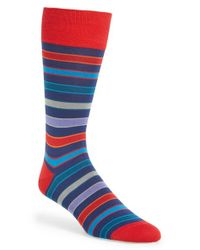 Bugatchi | Blue 'stripe' Mercerized Cotton Blend Socks for Men | Lyst