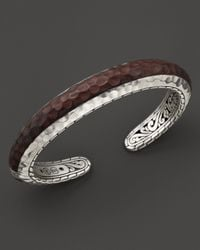 John Hardy | Brown Palu Silver Slim Cuff With Rose Wood | Lyst