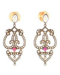 Sabine G - Metallic Ruby And Diamond Earrings - Lyst