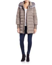 Elie Tahari | Gray Silver Fox Fur-trimmed Puffer Coat | Lyst