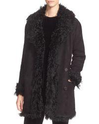 Theory Black 'abrienda' Genuine Shearling Coat