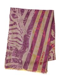 Etro Purple Wool and Silk Blend Scarf