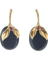 Annoushka - Black Drusy 18ct Yellow-gold, Onyx And Ruby Earrings - Lyst