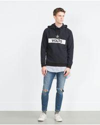 Zara | Blue Funnel Collar Sweatshirt for Men | Lyst